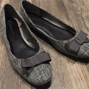 Gray flats with ribbon bow